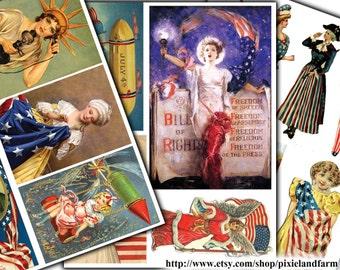 Vintage Fourth of July Clip Art Printable Digital Download