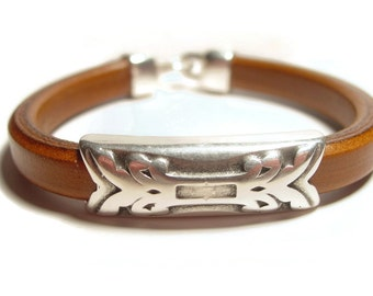Mens Brown Leather Bracelet with Silver Slider