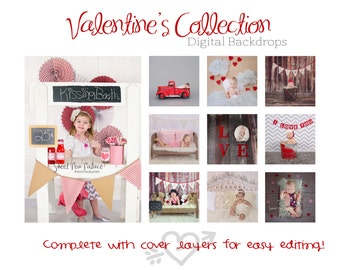 VALENTINE COLLECTION OF 10- Newborn Baby Photography Prop Digital Backdrop for Photographers