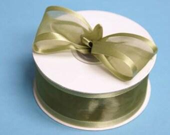 1.5 inch ORGANZA SATIN Trim Ribbon-------3 YARDS-----Olive Green------Hair bow Making Supplies