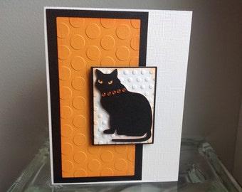 Black Kitty Cheers Handmade Card