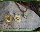 clay target shooters remington 12ga. brass shotgun shell on silver earrings original design