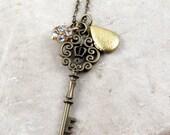 Skeleton Key Necklace Antique Skeleton Key Pendant Locket Charm Necklace Vintage Inspired Key Necklace Gift for Her