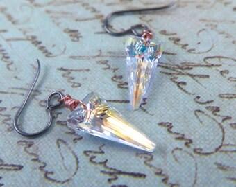 Swarovski Crystal Spike Earrings Rose Gold Earrings Black Dangle Glam Rock Geometric Triangle  Gift for Her