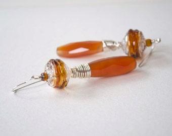 Carnelian Earrings, Glass Bead Earrings, Wire Wrapped Earrings, Long Earrings, Faceted Teardrop Earrings