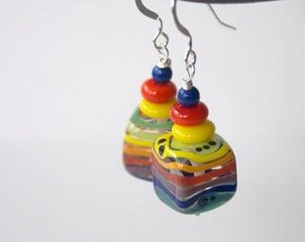 Rainbow Earrings, Colorful Earrings, Cube Earrings, Lampwork Glass Earrings, Striped Earrings