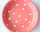 "POLKA DOT 4"" Magnetic Coral Pin Bowl with White Dots"