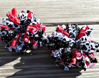 Girl Corker Hair Bows- Red & Black Cowgirl Bows- Baby Girl Bows- Toddler Bows- Pigtail Bows- Rodeo