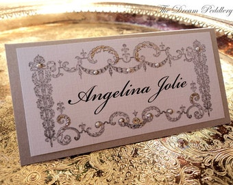 Le Marque-place. Vintage French Framed Place Cards with Pearls and Shimmer