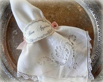 Bon Appétit. 6 Cream Parchment Paper Napkin Rings with Ribbon Ties