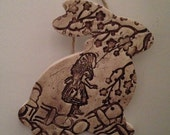 Alice in Wonderland themed Rabbit in Chocolate Brown --- Ceramic Bunny Wall Hanging - Alice in Wonderland Room Decor