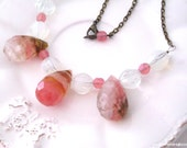 S T O N E S -FREE SHIPPING- stunning statement gemstones necklace gorgeous huge quartz tourmaline briolettes glass beads statement jewelry