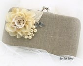 Linen Clutch, Pearl Clutch, Bridal, Wedding, Bridesmaids, Maid of Honor, Handbag, Shabby Chic, Rustic, Ivory, Silver, Lace, Vintage Style