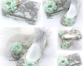 Clutch, Handbag, Bridal, Wedding, Ballet Flats, Mint Green, Gray, Ivory, Lace Clutch, Maid of Honor, Lace, Crystals, Pearls, Elegant Wedding