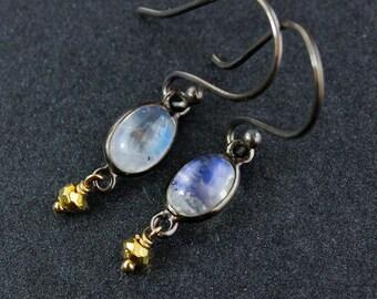Rainbow Moonstone Earrings - June Birthstone - Rhodium Plating
