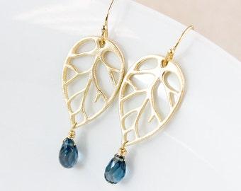 London Blue Topaz Earrings - Tree Filigree - 14k Gold Fill