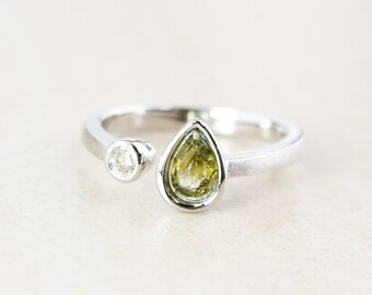 Teardrop Green Tourmaline Dual Ring - Round Diamond - Sterling Silver