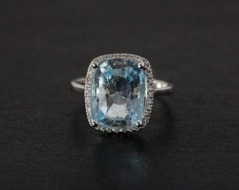 White Gold Blue Aquamarine Engagement Ring - Choose Your Aquamarine - Pave Diamond Setting