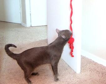 Door Knob Hanging Cat Nip Toy - Bouncing Cat Toy - Organic CatNip - Wool Crochet