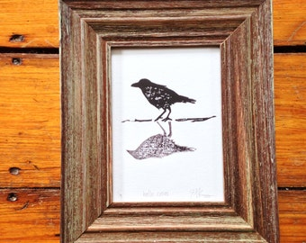hello crow. hand carved and printed wood block print.