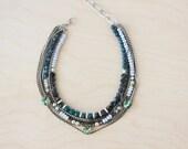Blue statement necklace, swarovski necklace, stones necklace, boho necklace, multistrands necklace, silver necklace, bib necklace, chains