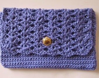 Crocheted Clutch Purse, Purple