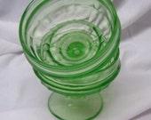 2 Vintage Vaseline Glass Dessert Bowls, Serving Bowls, Green Glass Bowls, Depression Glass