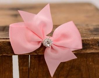 Pink Pinwheel Hair Bow, Girls Pinwheel Bow Hair Bow, Toddler Hair Bow, Pink Hair Bow, Bow With Crystal Center, Flower Girl Hair Bows