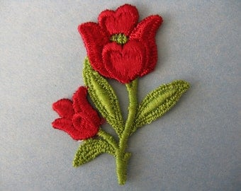 red tulip patch 1970's embroidered flower appliqué new old stock vintage jacket patch