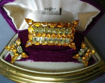 Sterling J Flex Brooch And Earrings Set Citrine Tone Rich Amber Tones Accessories FREE SHIPPING To The USA And Canada