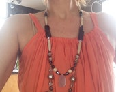 Long, Statement Necklace, Boho Necklace, Chunky, Stone Necklace, Semiprecious