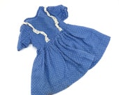 1940s Blue with White Polka Dots Doll Dress Vintage Sack Cloth Cotton Dress with Lace Trim