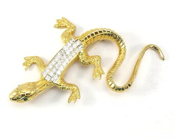 Large Lizard Signed Piscitelli Broach Goldtone Rhinestone Vintage1970s Brooch - FREE Domestic Shipping