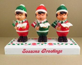 Kitschy Choir Boy Trio Vintage 1980s Christmas Decoration