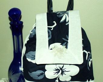 Beauitful Black and White and Gray Backpack-Back to School Sale.