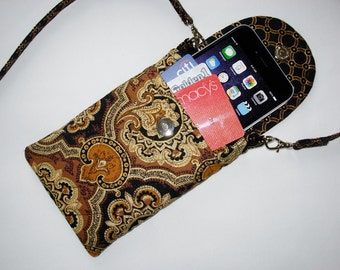 Iphone 6 Smart Phone Gadget Case Detachable Neck Strap Quilted Black Brown Gold