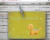 ON SALE 40% off Congratulations, baby boy - 4x5.5 folded greeting card -orange Dinosaur