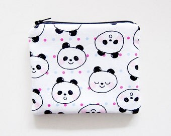 Zipper Pouch - Pandas on White - Available in Small / Large / Long