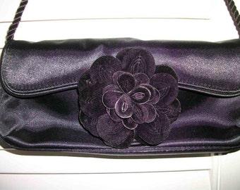Avon  Black satin evening purse w  velvet flower Like NEw SAle Was 18 now only 14