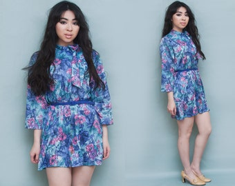 1960s Floral Neck Tie Blue Purple A-Line Mini Dress S M L