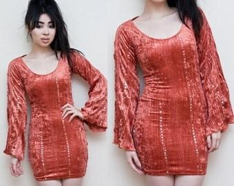 Salmon Orange Crinkle Velvet Bell Sleeve Mini Dress XS S OOAK