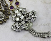 Vintage Collage Necklace featuring Repurposed Rhinestone Earrings - Purple Crystal Bezels - Vintage Rosaries - by Boutique Bijou