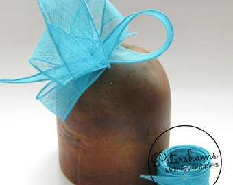 Turquoise Hand Rolled Sinamay Ribbon Sash for Millinery, Hat Trimming & Fascinators