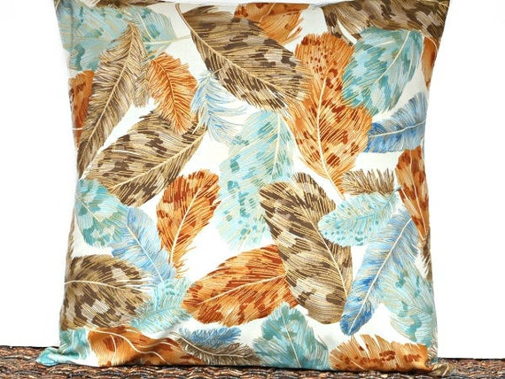 Feathers Pillow Cover Cushion Southwestern Brown by PookieandJack