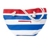 Nautical beach bag, Sailor bag, Carry all bag. Stripes in navy blue, white and red. Summer bag, large bag. Everyday purse