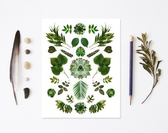 Green collage blank notecards (white) set of 4 w/envelopes. nature inspired. botanical collage. Gift set. Stationery
