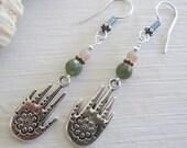 Hamsa ~ Fancy Jasper & Hamsa charm earrings ~ Spiritual jewelry, Bohemian style
