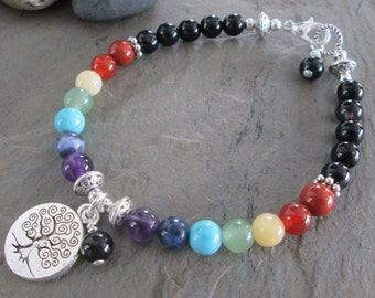 7 Chakra Bracelet - Chakra Gemstones ~ Tree of Life Charm Bracelet - Metaphysical/Spiritual/Chakra Jewelry