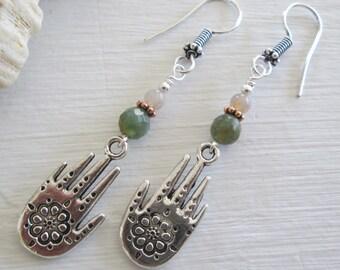 Hamsa & Fancy Jasper Earrings ~ Spiritual jewelry, Bohemian style