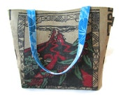 MTO. Custom. Large Burlap Tote. Kilauea Volcano. Repurposed Kona Coffee Bag. Handmade in Hawaii.